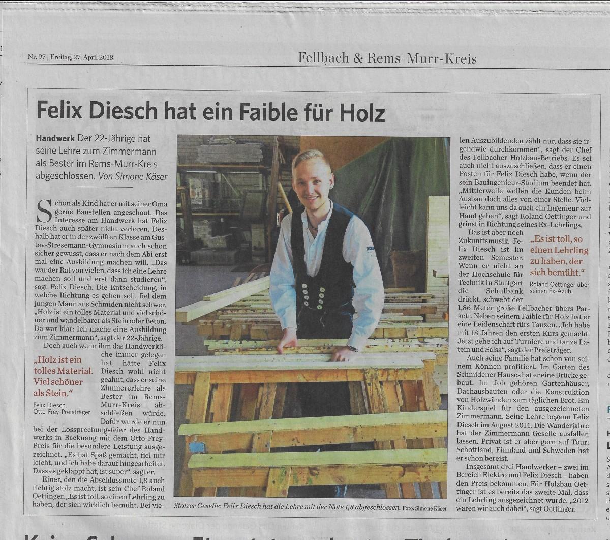 Felix Diesch erhält Otto-Frey-Preis